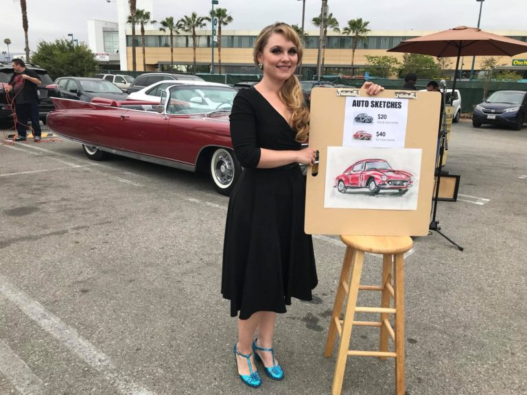 Liz Masters Drawing Cars at Pinup Pole Show in NoHo, CA
