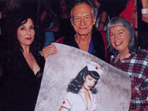 olivia with Hugh Hefner and Bettie Page